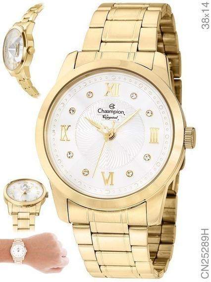 Relógio Champion Feminino Dourado Cn25289h Original Confort Top