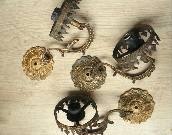 Conjunto Arandelas Império Antigas Bronze Maçico