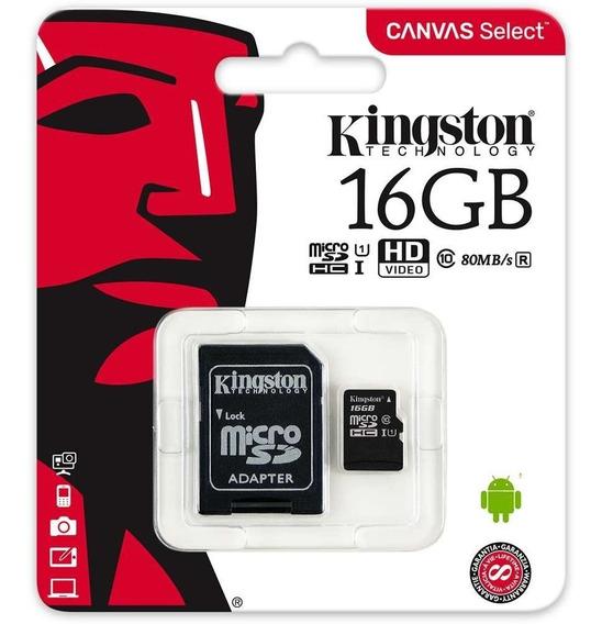 Cartão De Memória Kingston Micro Sd C/10 16gb Com Adaptador