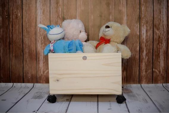 2 Pzas Baul Juguetero Caja Madera Con Llantas Infantil Niño
