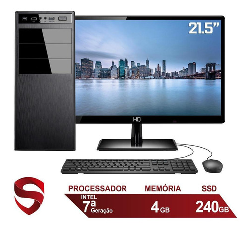 Imagem 1 de 5 de Computador Intel G3930 4gb Ssd 240gb Monitor 21.5  Skill Pro