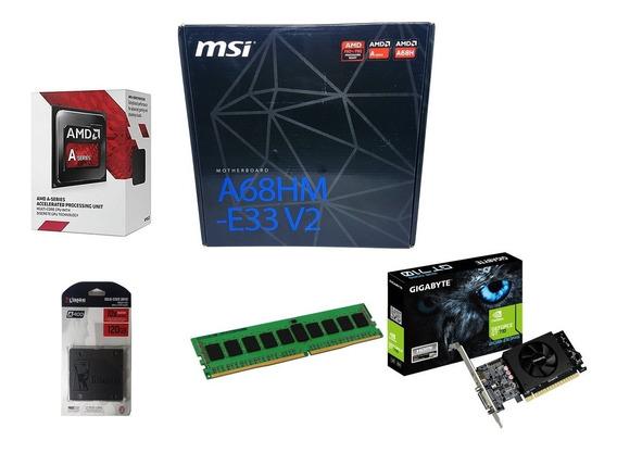 Kit Gamer Placa Msi + A6 7480 + 8gb + Ssd 120gb + Gt 710 2gb