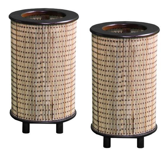 Par De Luminárias Abajur Em Bambu Japonês Para Sala Quarto