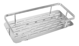 Estante Repisa Rectangular C/ Baranda Aluminio Baño Jabonera
