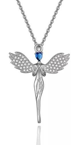 Lindo Collar Para Dama Angel Azul Cristal Cadena