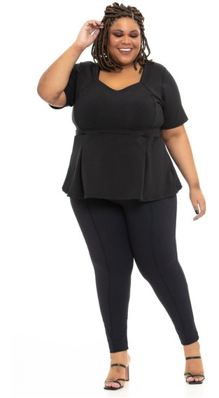 Legging Plus Size Wonder Size Joana Dark Office Emana® Preta