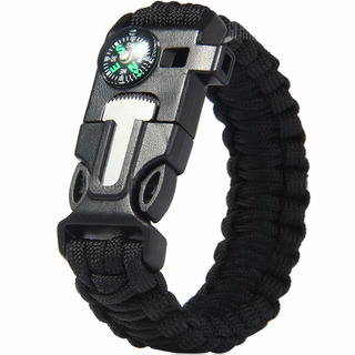 Pedernal Pulsera Tactica Supervivencia Paracord Negro D3045