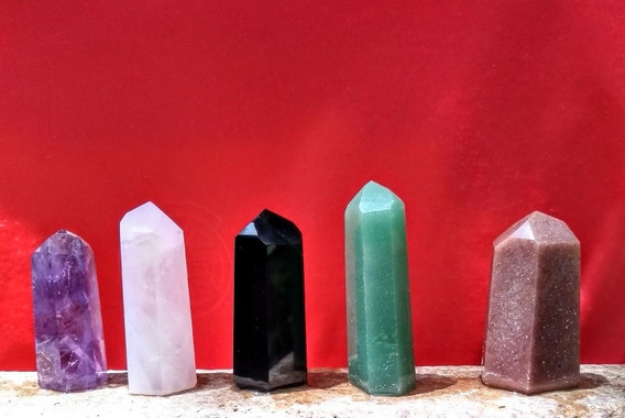 Kit 5 Pontas Lapidadas Ametista Cristal Quartzo Obsidiana