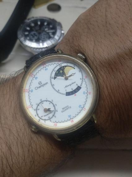 Relógio Antigo Champion Fases Da Lua Dois Horários Monsphase