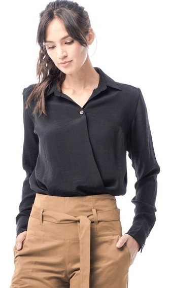 Camisa Cruzada En Sedita Negra Opaca Giacca