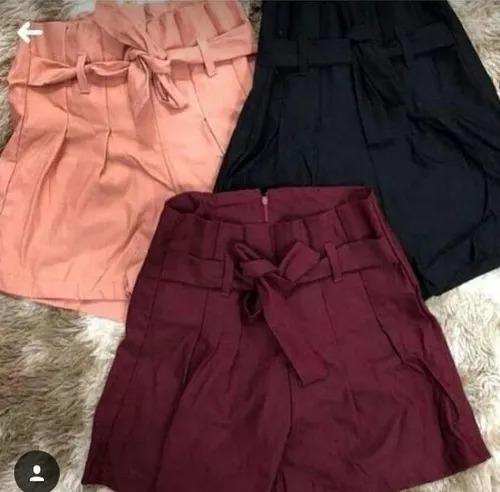 Short Cintura Alta Bengaline Shortinho Laço Roupas Femininas