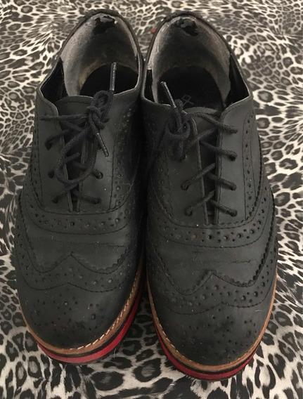 Zapatos Abotinados Acordonados Nazaria Negros Talle 39