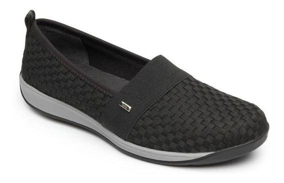 Zapato Dama Mujer Sneaker Flexi Tejido Negro Casual