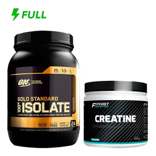 Kit Whey Isolate Gold 100% Optimum 720g + Creatina Fit Fast