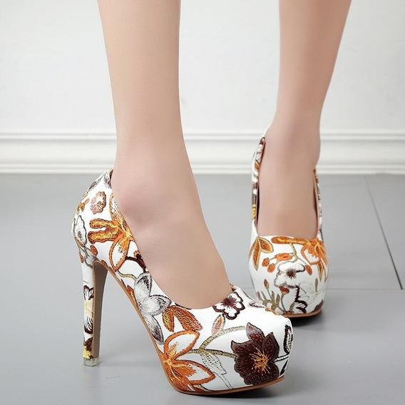 Sapato Pu Salto Alto 13 Plataforma Estampado Branco Marrom