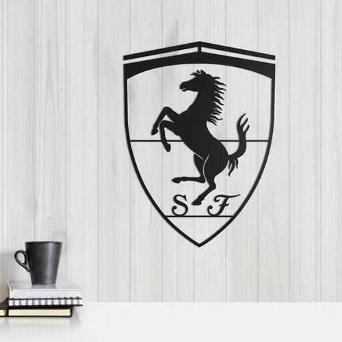 Imagem 1 de 2 de Quadro Decorativo Parede Veículos Ferrari Logo  30cm