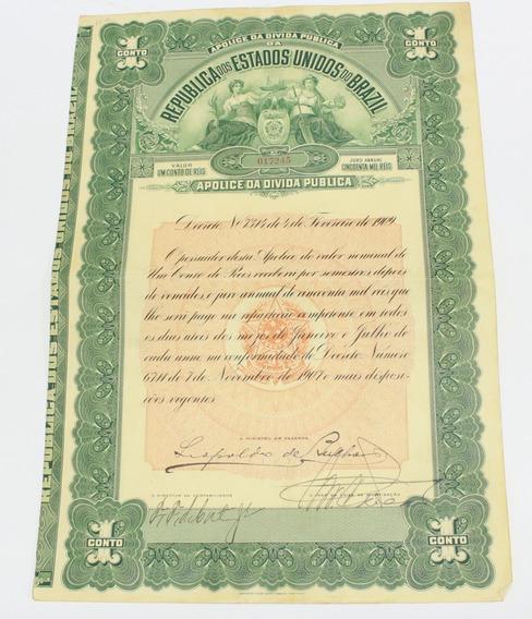 Apólice Dívida Pública 1909 Papel Antigo Título 1 Conto Réis