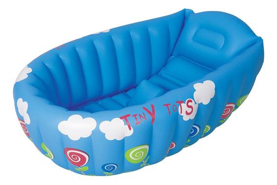Banheira Bebê Inflável Indicador De Temperatura Azul 55l Mor