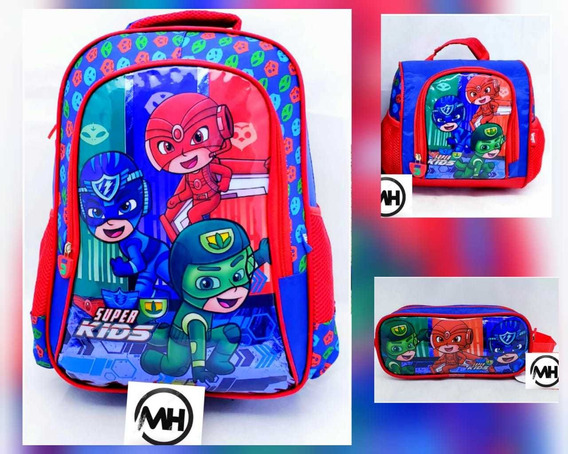 Kit Mochila Escolar Infantil Reforçada Grande Super Kids 3it