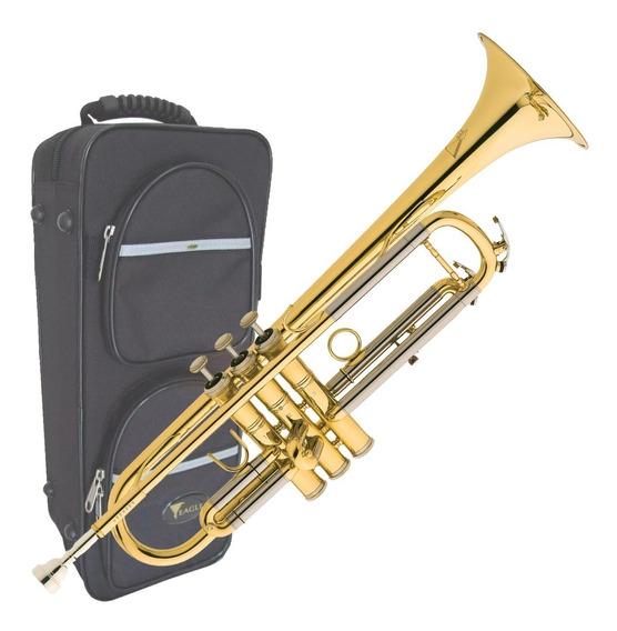 Trompete Sopro Eagle Laqueado Tr504 Em Sib + Case Luxo