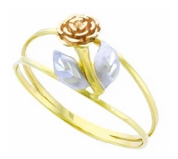 Anel De Ouro 18k Flor Tricolor - Viagold O98