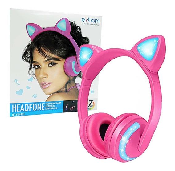 Headphone Orelha De Gato Led & Bluetooth - Exbom