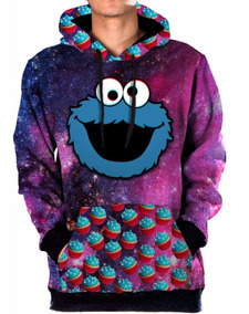 Blusa Moletom Canguru Galaxia Cookie Monster Tumblr Swag