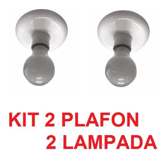 Kit 2 Plafon Bocal Branco E27 E Lâmpada Led 9w Bivolt
