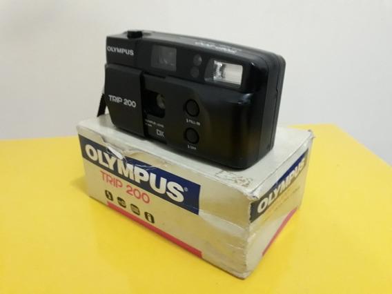Câmera Fotográfica Antiga Olympus Trip 200 Analógica Com Cx
