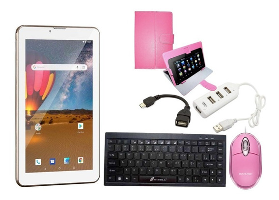 Tablet Computador Android 8 Celular 3g Capa Teclado Mouse