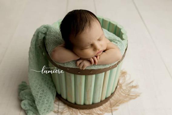 Baldinho Madeira Verdinho Pátina Prop Foto Newborn Acompanhamento Bebê