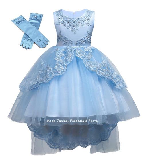 Vestido Infantil Princesa Cinderela Curto Luxo Luva Azul