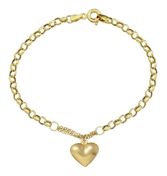 Pulseira Feminina Ouro 18k Coração Grossa - Garantia Eterna