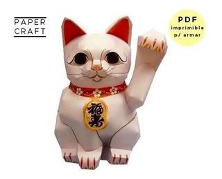 Gato Oriental De La Suerte Para Imprimir Y Armar Papel
