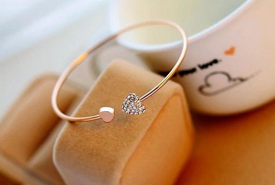 Pulseira Ajustável Dourada Dois Corações Coração Pedras Cris