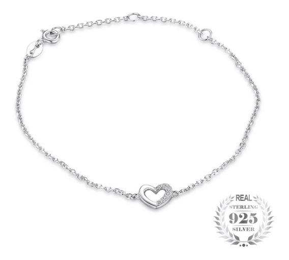 Pulsera Corazón Plata Esterlina 925 Y Brillantes Mujer!!!!