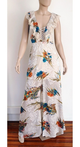 Vestido Largo Flores Volados - Fiesta De Dia - Boho