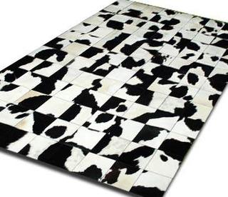 Alfombra Patchwork De Cuero De Vaca Con Pelo. 1,6 M X 2,0m