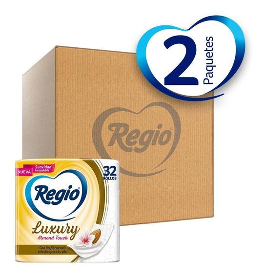 Caja Con 2 Papel Higi Regio Luxury Almond Touch 32 Rollos