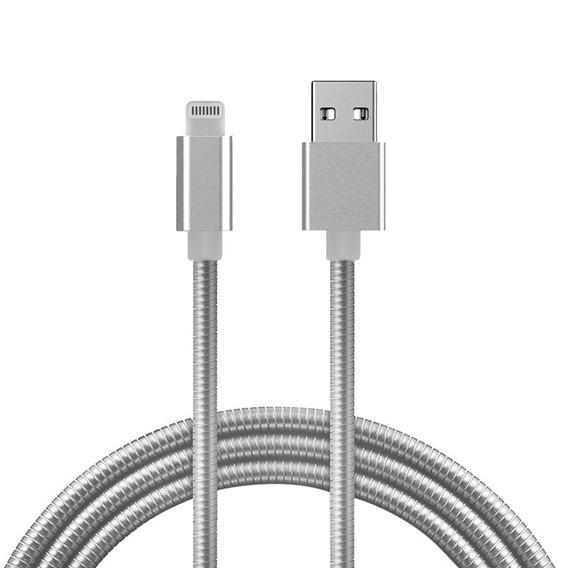 Cabo De Dados Hrebos Usb Metal Para iPhone iPad 1,2 M Prata