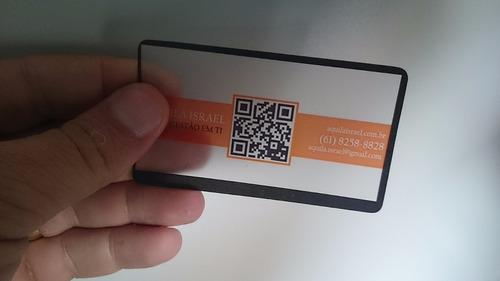 Cartão De Visita Pvc 3rtões Transparente Ou Branco 4x0