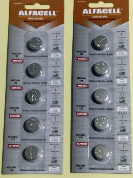 2 Kits Bateria Alcalina Botão Ag13/lr44 De 1.5v Alfacell C/5
