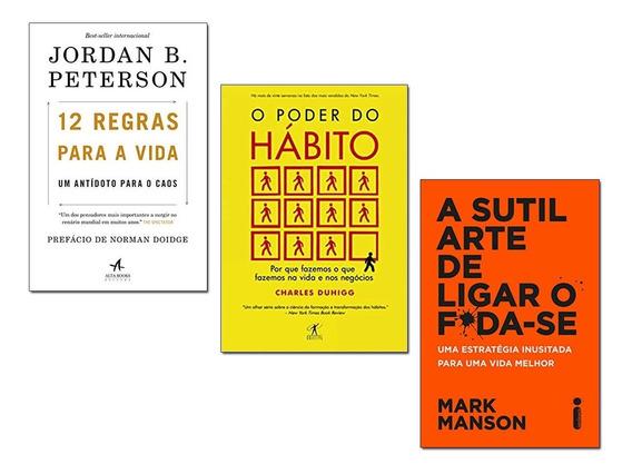 Kit 3 Livro Sutil Arte+ 12 Regras Para Vida+ Poder Do Habito