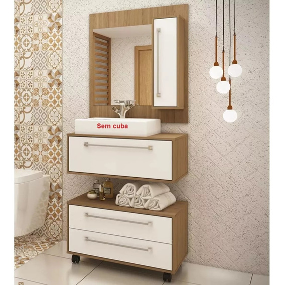 Conjunto De Banheiro Balcão Gabinete Painel + Garantia