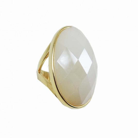 Anel Semi Jóia Pedra Branca