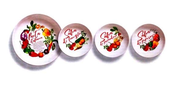 Jogo Para Servir Pasta Massa Com 1 Tigela Grande E 6 Pratos Fundos Decorados Cozinha Culinária Italiana Mediterrânea