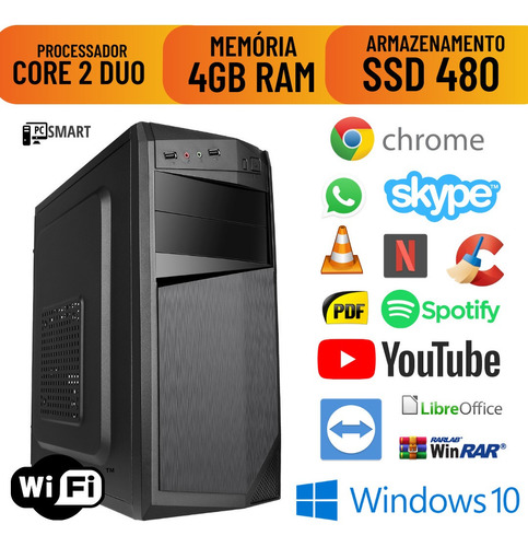 Imagem 1 de 8 de Cpu Montada Core 2 Duo 4gb Ssd 480 Win10 Pró Original