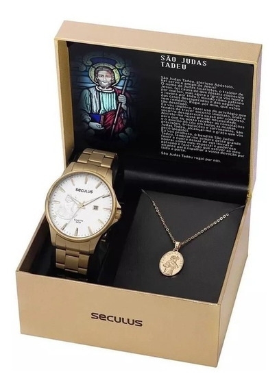 Relógio Seculus Kit São Judas Tadeu 35014gpskda1k1 C/ Nf