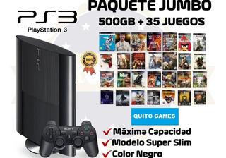 Ps3 Super Slim 500gb + 35 Juegos Digitales Al Escojer ...!!!