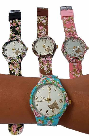 Relógio De Pulso Florido Feminino De Ponteiro Fashion Barato